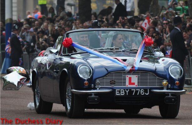 prince william drive kate middleton aston martin royal wedding