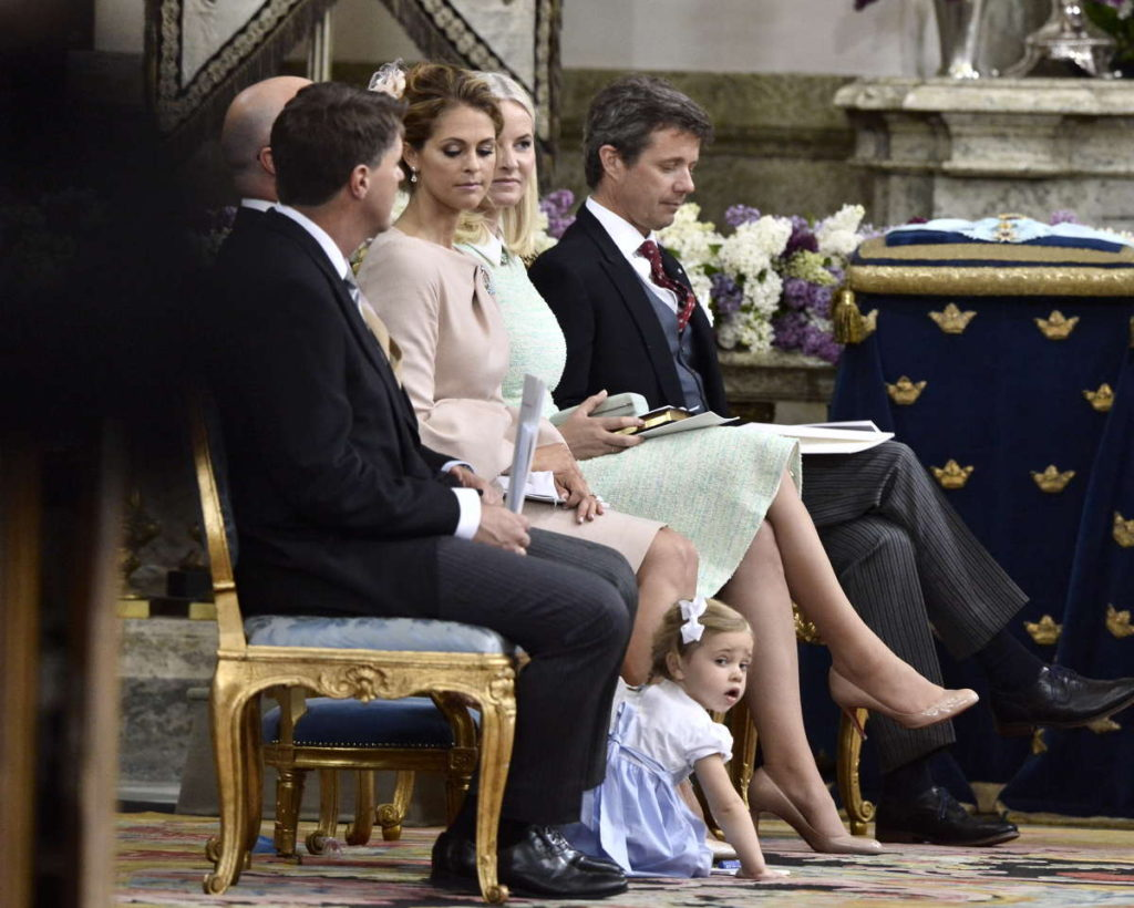 princess leonore plays on ground during prince oscar christening sweden