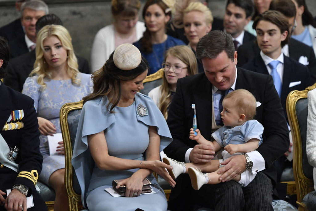 princess sofia blue dress plays with prince nicolas prince oscar christening