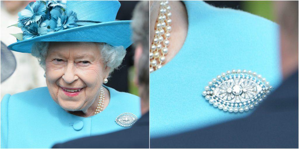 queen elizabeth close-up brooch garden party
