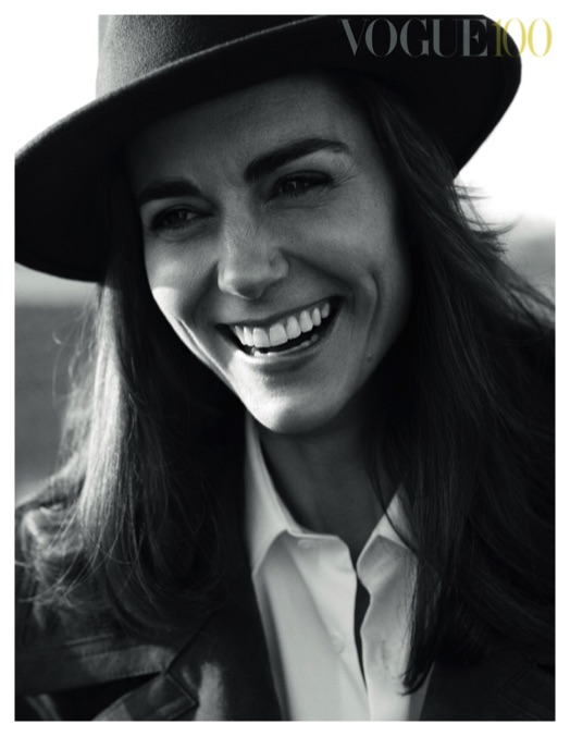 kate middleton black white british vogue hat