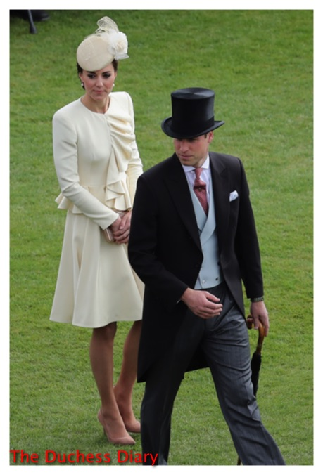 kate middleton cream alexander mcqueen coat two paces prince william buckingham palace garden party