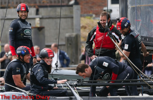 kate middleton helmet joins boat Land Rover BAR team portsmouth