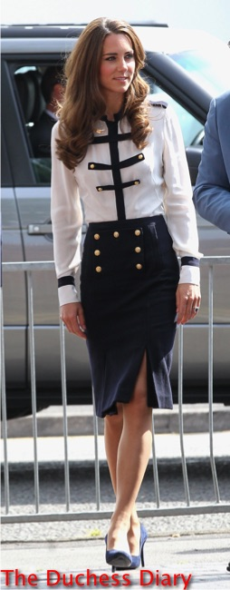 kate middleton visits birmingham riot areas white and navy alexander mcqueen outfit