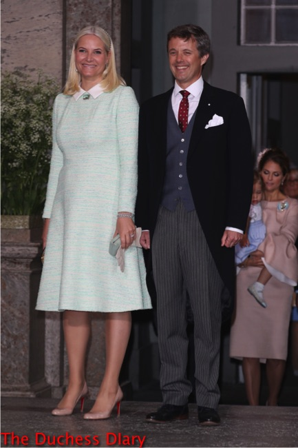 Godparents Crown Princess Mette-Marit Norway mint dress blond hair crown prince frederik denmark godparents prince oscar christening