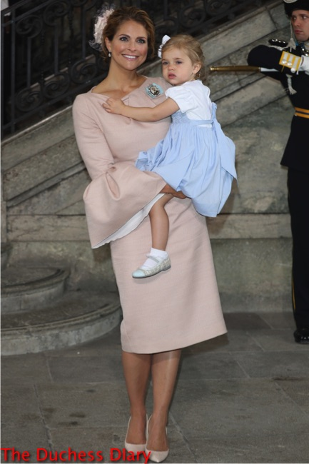 Princess Madeleine of Sweden holds princess leonore christening oscar sweden