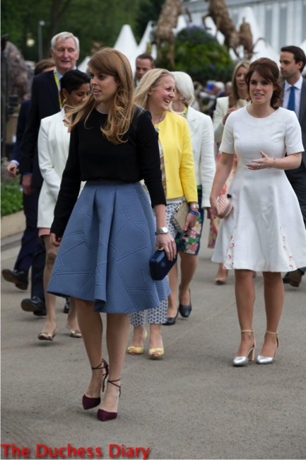 princess beatrice blue skirt black top princess eugenie white dress chelsea flower show 2016