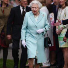 queen elizabeth II baby blue coat prince philip chelsea flower show
