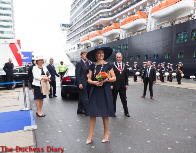 queen maxima blue hat christens cruise ship rotterdam