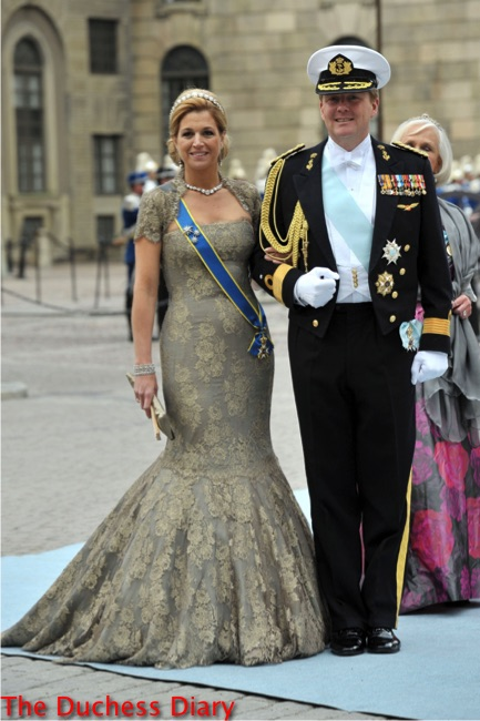 queen maxima green floral dress king willem alexander wedding of crown princess victoria