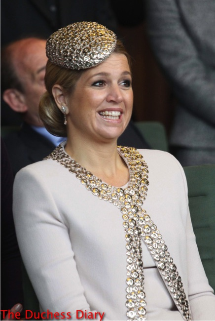queen maxima silver hat reception saxony prime minister stanislaw tillich