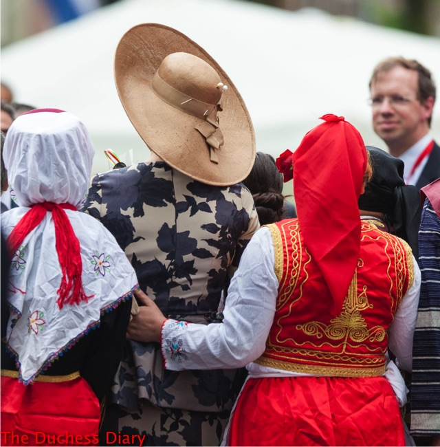 back shot of queen maxima straw hat netherlands