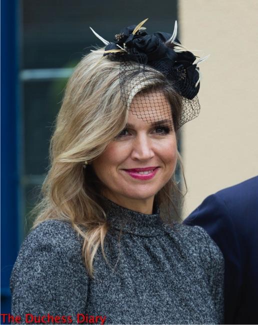queen maxima grey top floral black headband former mining region visit