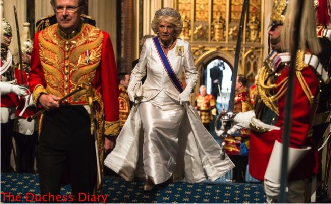 camilla duchess cornwall white dress tiara blue sash walks up stairs house parliament