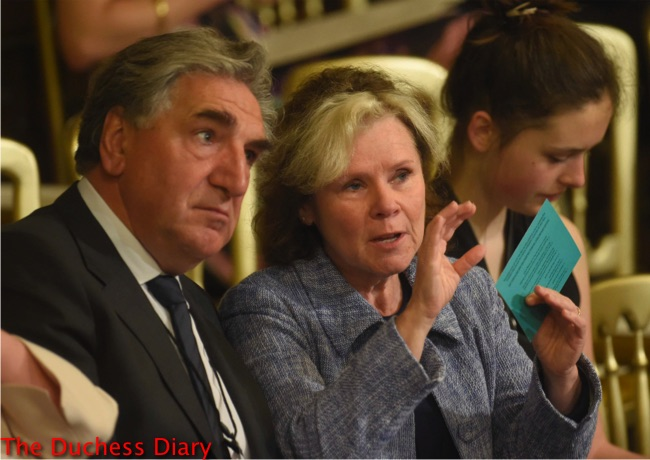 jim carter downton abbey sits wife imelda staunton watch state opening parliament