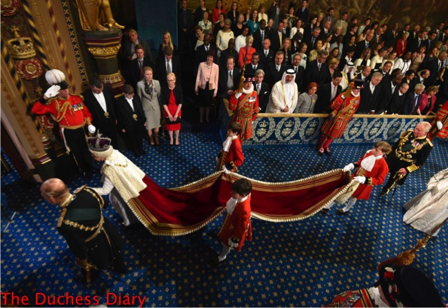 queen elizabeth holds prince philip hand walk through royal gallery state opening parliament 2016