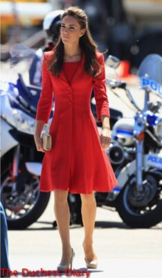 duchess of cambridge visits calgary catherine walker red coat