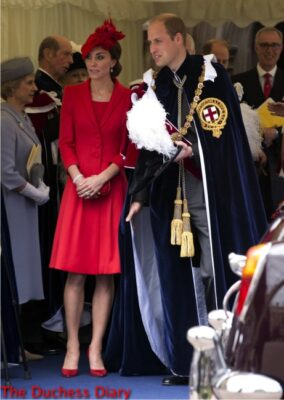 prince william duchess of cambridge red dress coat order garter 2016