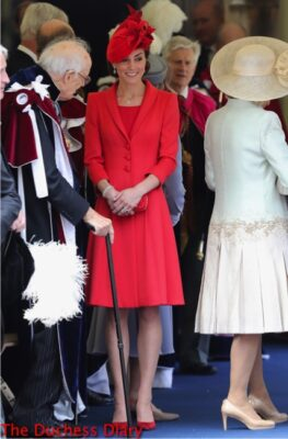 duchess of cambridge red outfit order garter service