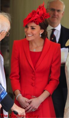 duchess of cambridge red coat order garter 2016 chatting guests