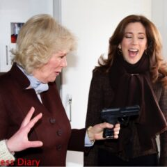 duchess of cornwall points gun crown princess mary laughs