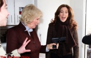 duchess of cornwall points gun crown princess mary laughs