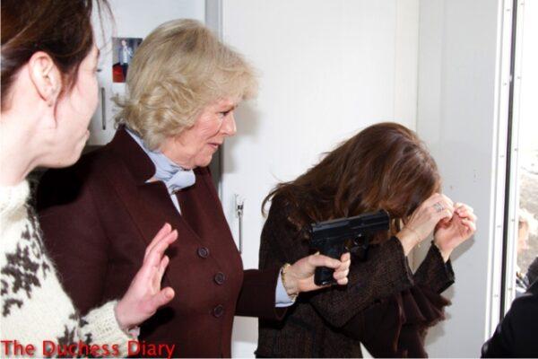 camilla duchess cornwall pulls gun jokes with crown princess mary the killing set