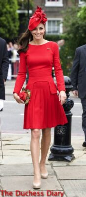 duchess of cambridge red alexander mcqueen jubilee thames river pageant