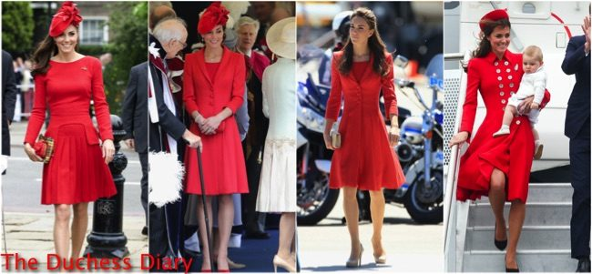 duchess cambridge red outfits royal engagements
