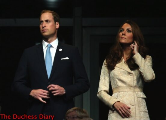 prince william blue tie duchess cambridge yellow brocade coat paralympics opening ceremony 2012