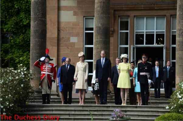 duke of cambridge suit duchess of cambridge yellow brocade coat hillborough castle northern ireland