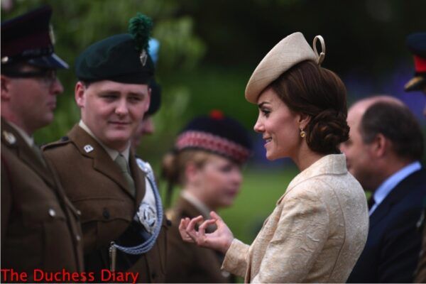 duchess cambridge speaks soldiers northern ireland garden party