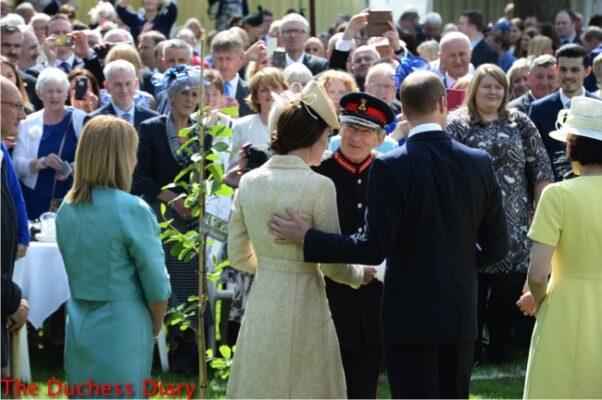 prince william puts hand duchess of cambridge back northern ireland garden party