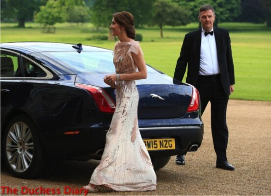 catherine duchess cambridge up do jenny packham gown houghton hall