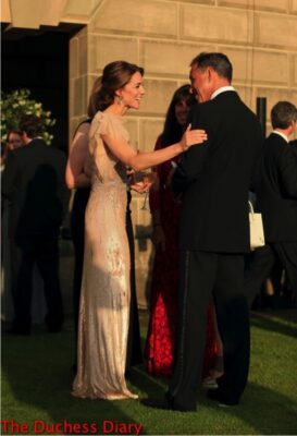 catherine duchess cambridge speaks animatedly anthony horowitz each gala dinner