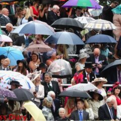 racegoers hide under umbrellas royal ascot day one rain
