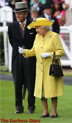queen elizabeth yellow coat hat prince philip parade ring royal ascot day one
