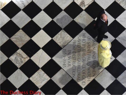 queen elizabeth yellow coat prince philip arrive national service thanksgiving