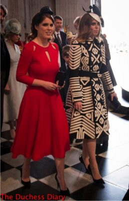 princess eugenie red dress princess beatrice black white coat st paul's cathedral queen 90th birthday
