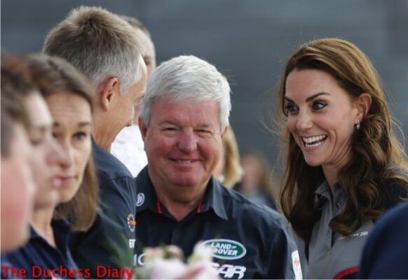 duchess of cambridge speaks with keith mills martin whitmarsh land rover BAR