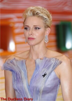 princess charlene close up chandelier earrings red cross gala 2016
