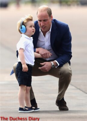 prince william kneels down speaks to prince george raf fairford