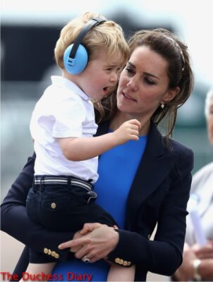 prince george reacts held by duchess cambridge raf fairford