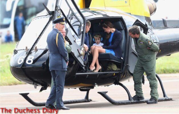 prince william duchess cambridge prince george sit inside squirrel helicopter raf raiford