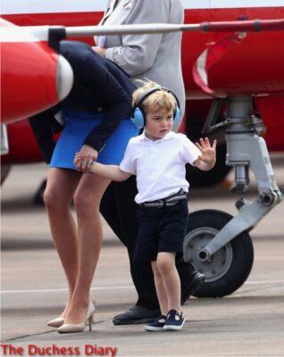 prince george ear phones waves crowds raf fairford