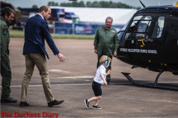 prince george runs away prince william helicopter raf fairford