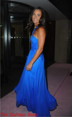 pippa middleton looks over shoulder blue jenny packham dress boodles boxing ball