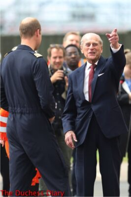 prince philip laughs points prince william joking cambridge airport