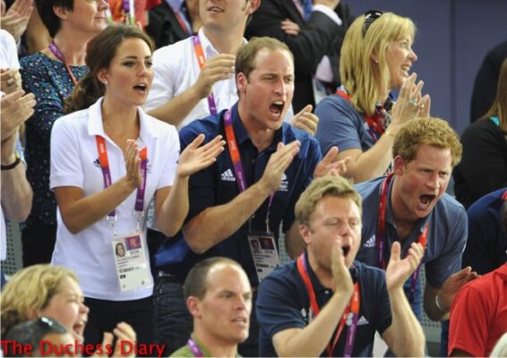 prince william kate middleton prince harry cheer on cycling olympics 2012