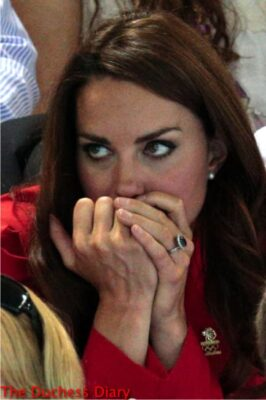 kate middleton red blazer nail biting swimming olympics 2012